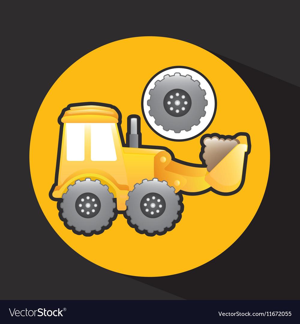 Excavator truck gear wheel icon graphic vector image