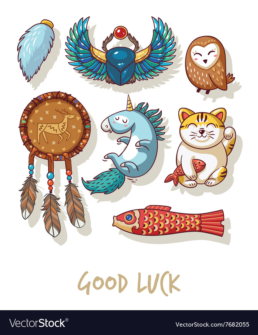 Good Luck Lucky amulets and happy symbols set