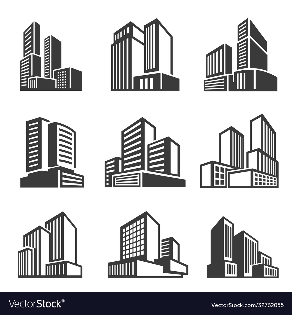 Office buildings houses line and bold icons set