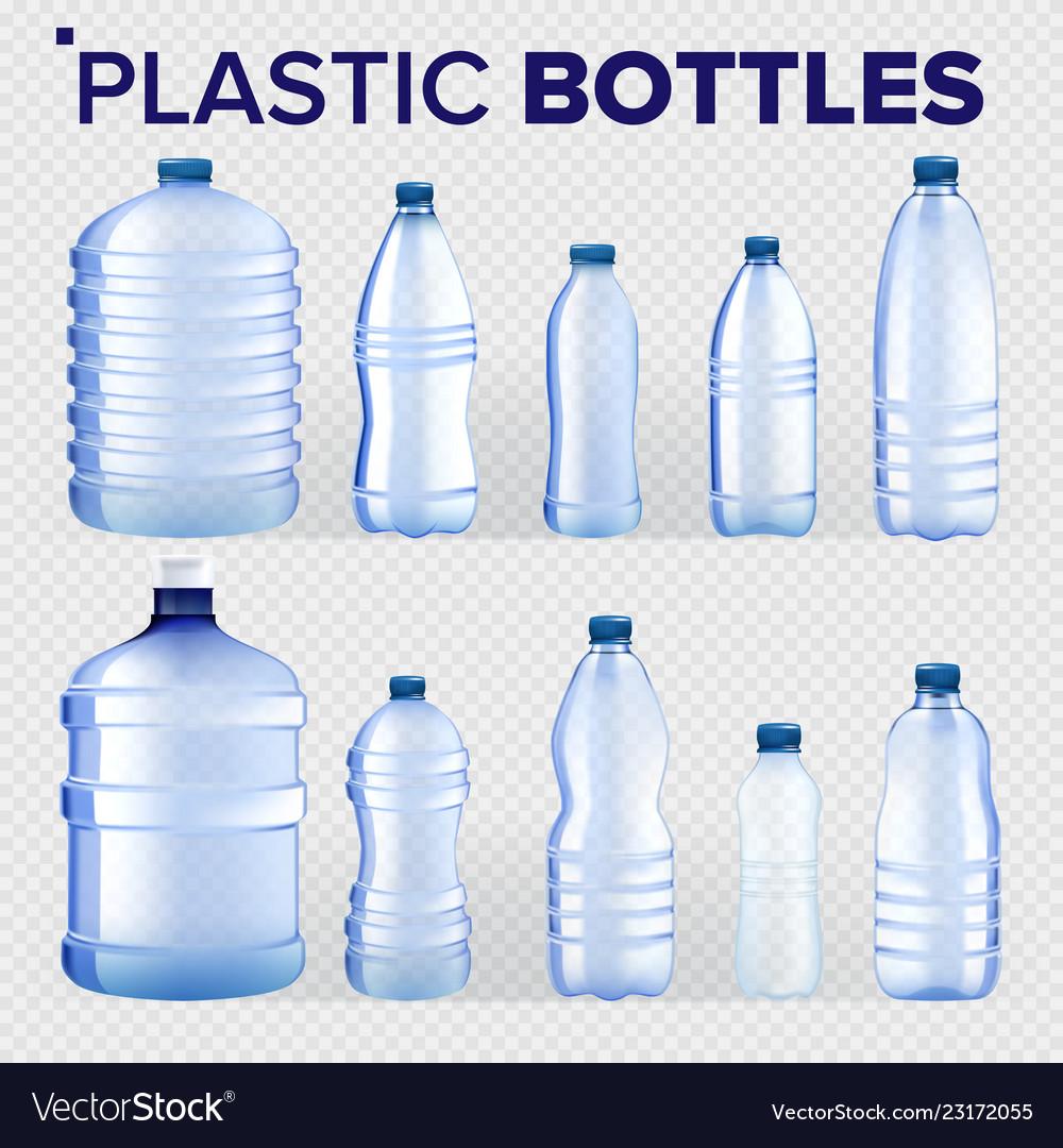 Plastic bottles set different types of