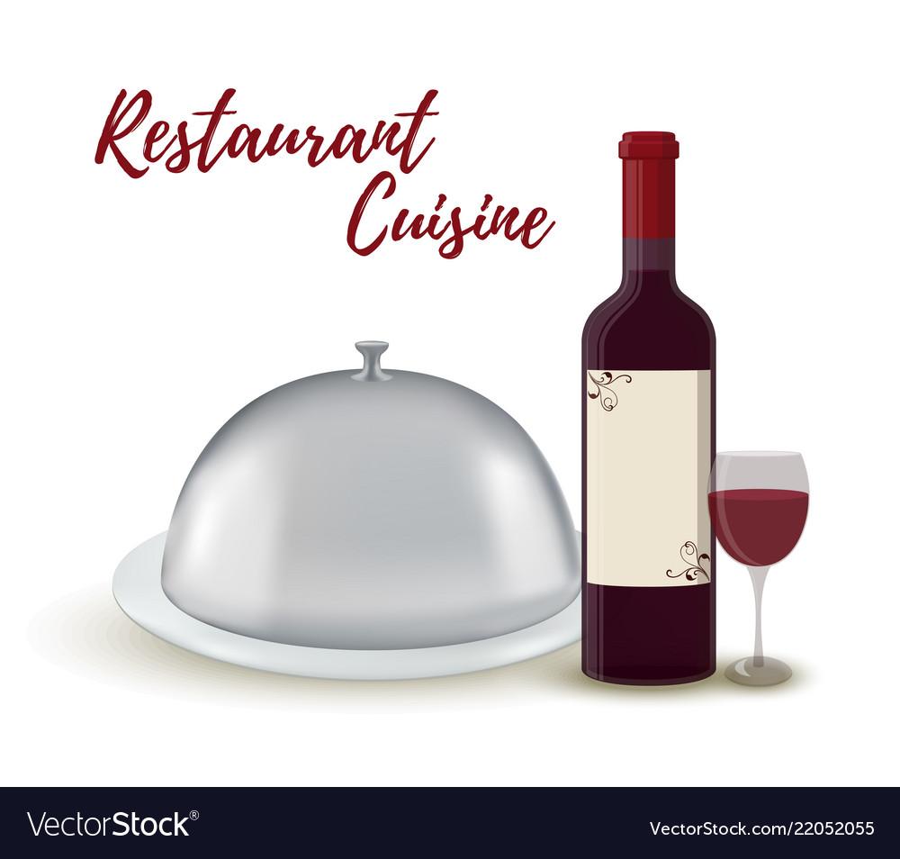 Restaurant set - wine bottle silver cloche