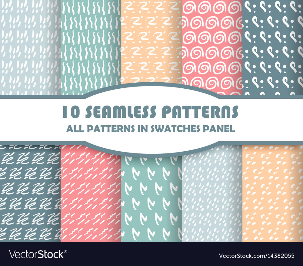 Set of geometric seamless patterns for