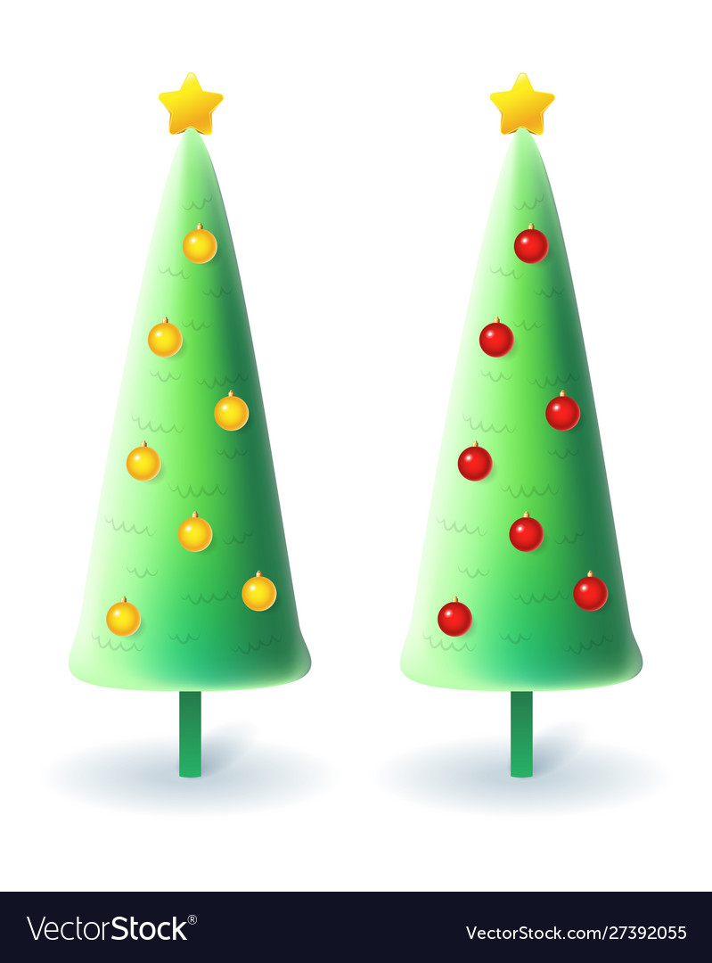 Slim christmas trees with yellow and red decoratio