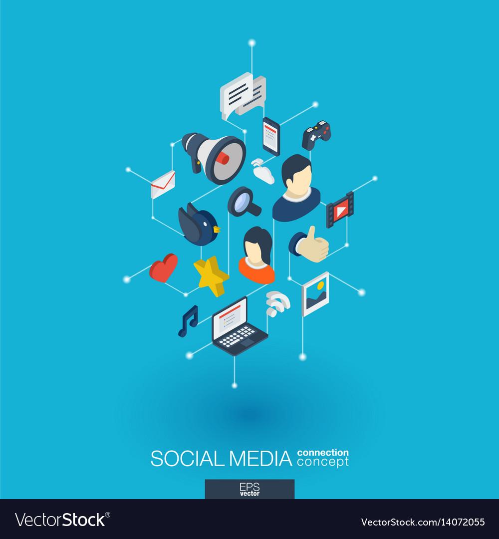 Social media integrated 3d web icons digital