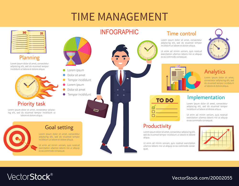 Time Management Planning Control Bright Banner Vector Image