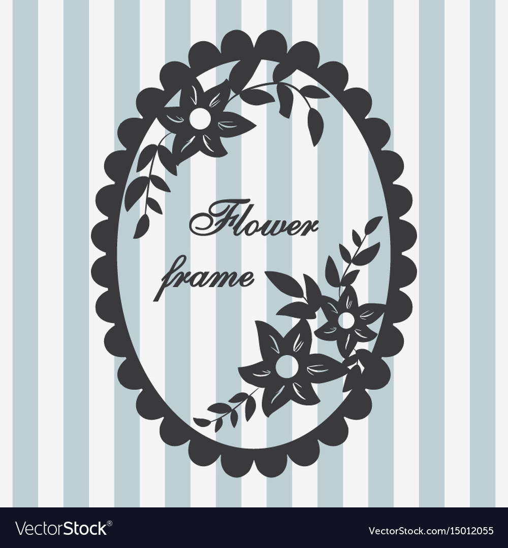 Vintage frame flower ornament blue