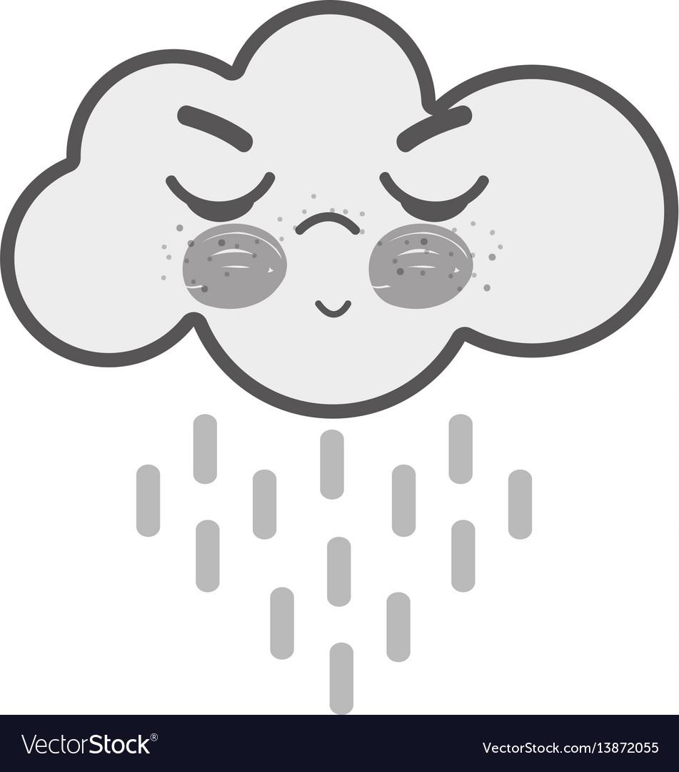 White kawaii raining cloud angry with close eyes
