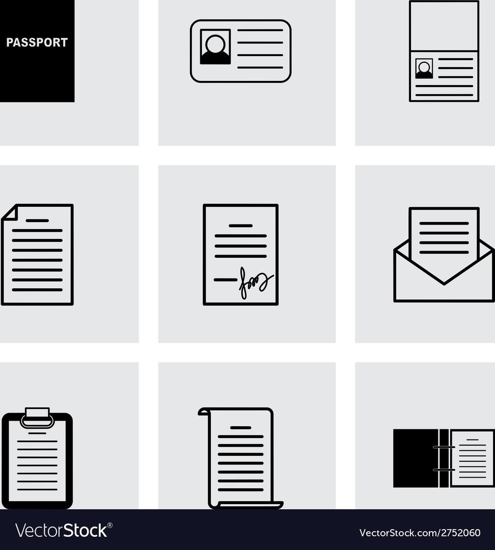 Black document icons set