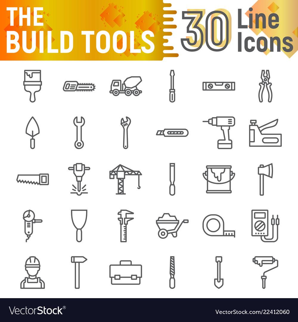 Build Tools Line Icon Set Construction Symbols Vector Image