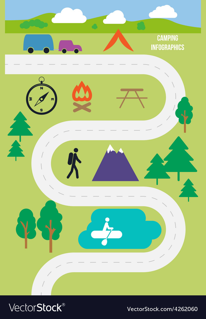 Camping outdoor infographics