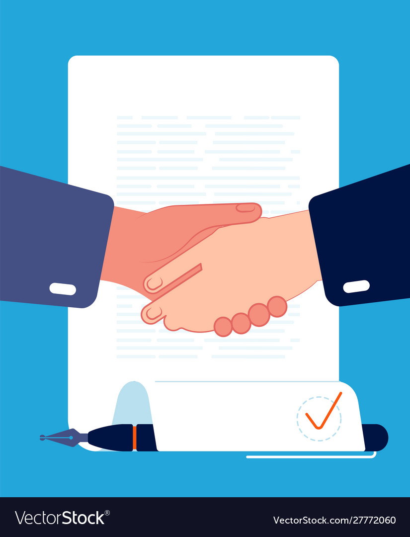 Contract handshaking businessman hands sign