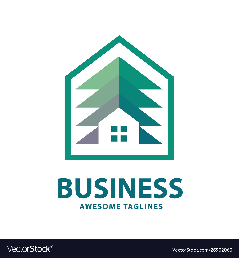 Creative and simple pine house logo vector