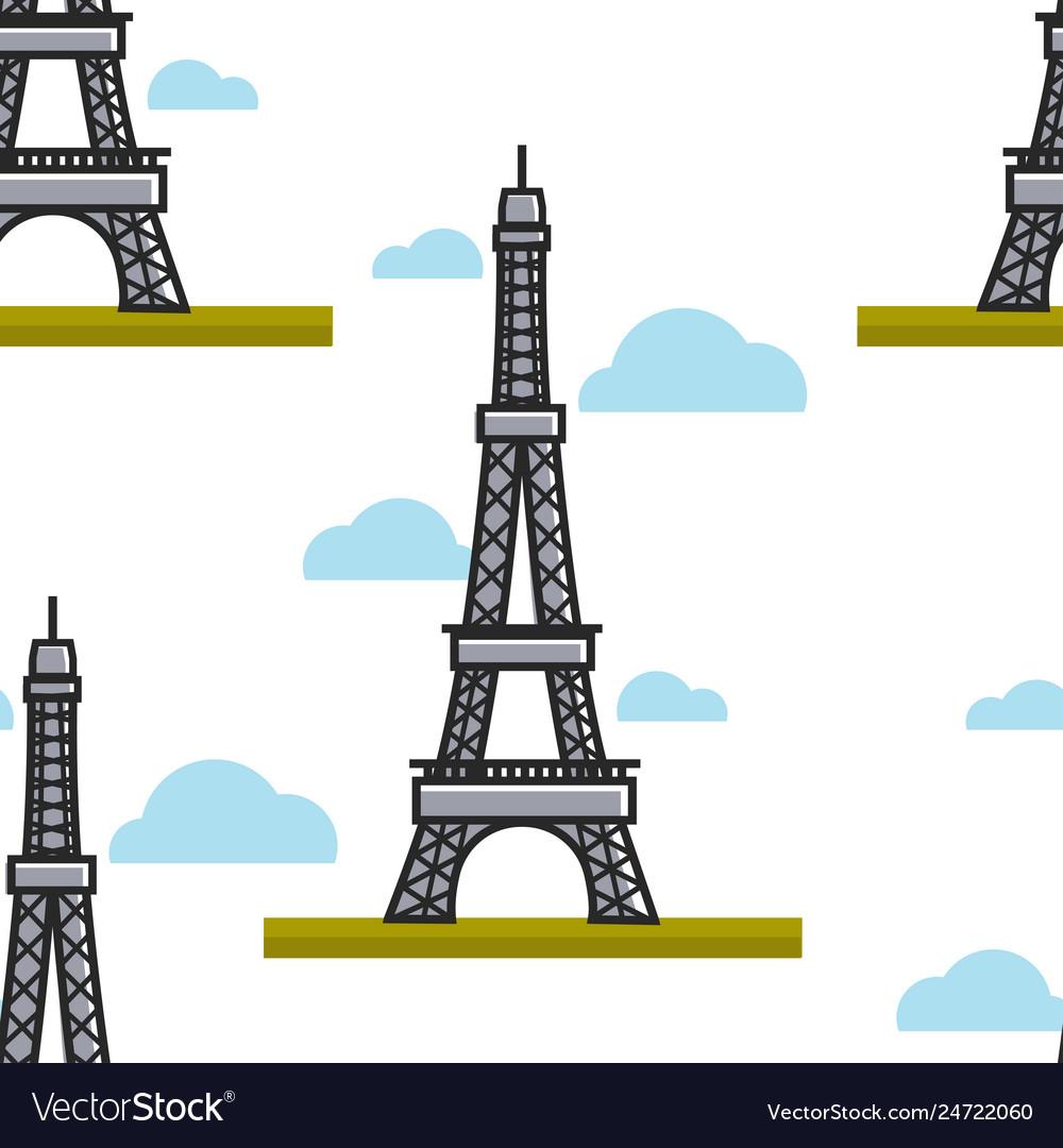 Eiffel tower seamless pattern paris france