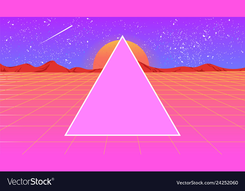 Futuristic landscape 1980s style with a triangle
