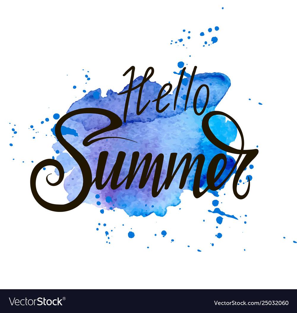 Inscription hello summer on a blue background