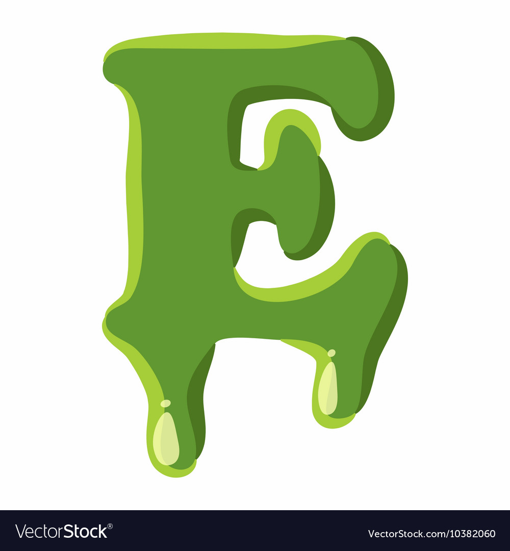 Letter E Made Of Green Slime Royalty Free Vector Image