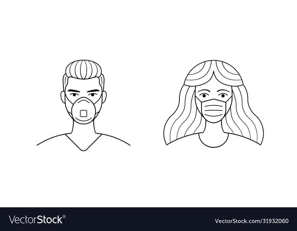Male and female wearing medical face protection