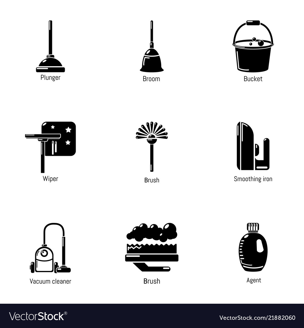 Room cleaning icons set simple style