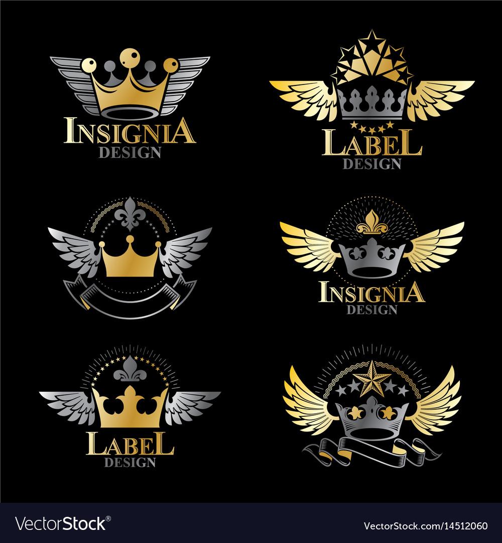 Royal crowns emblems set heraldic design elements