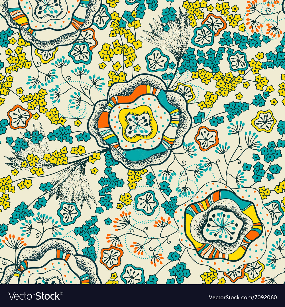 Seamless pattern and abstract flowers vector image