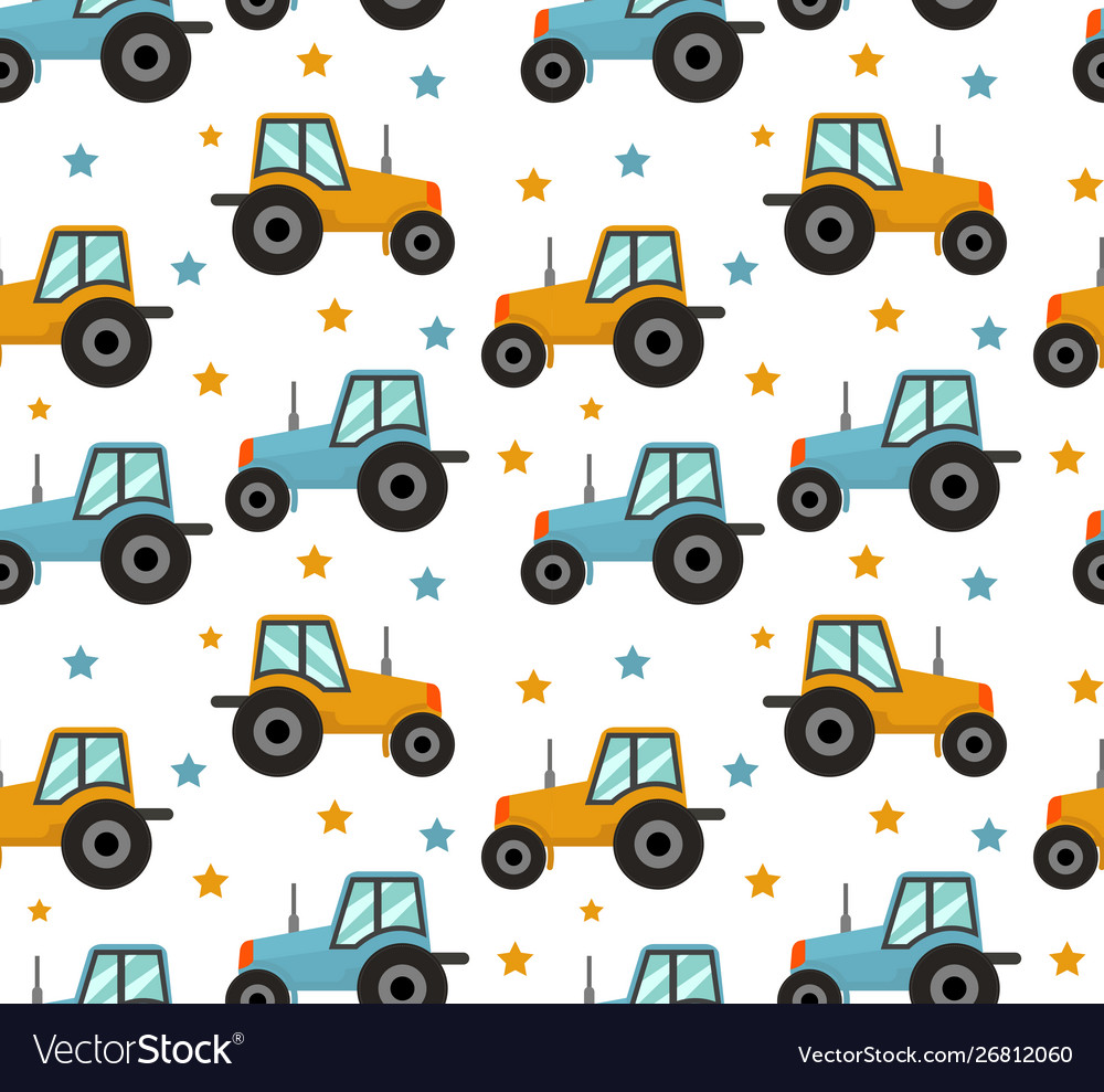 Tractor seamless pattern bacars for boys