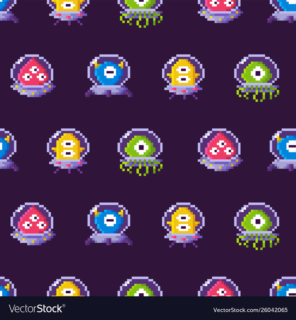 Aliens wearing protective suits seamless pattern