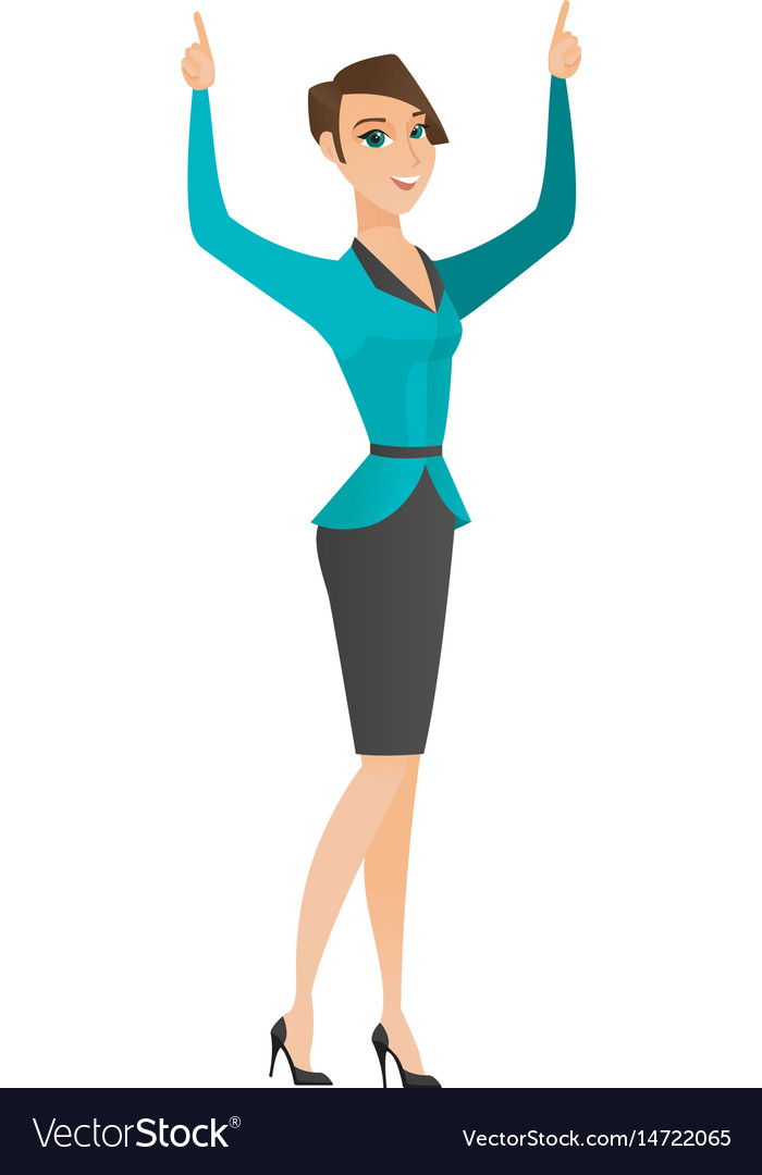 Business woman standing with raised arms up