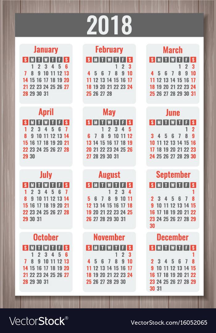 Calendar for 2018 week starts sunday simple