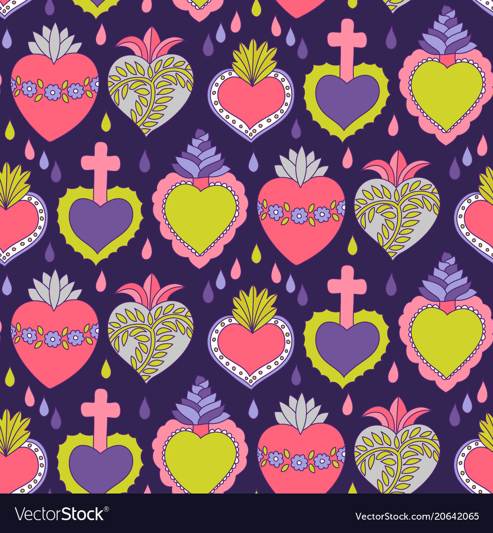 Doodle sacred heart seamless pattern