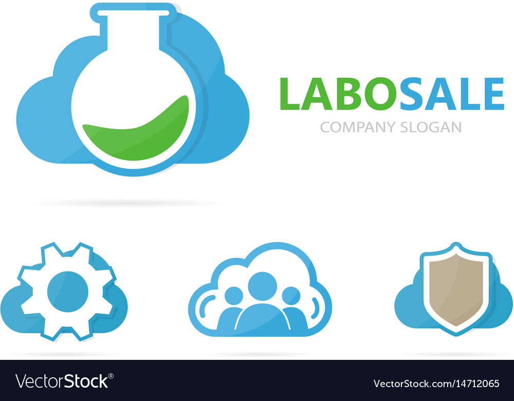 Flask and cloud logo combination