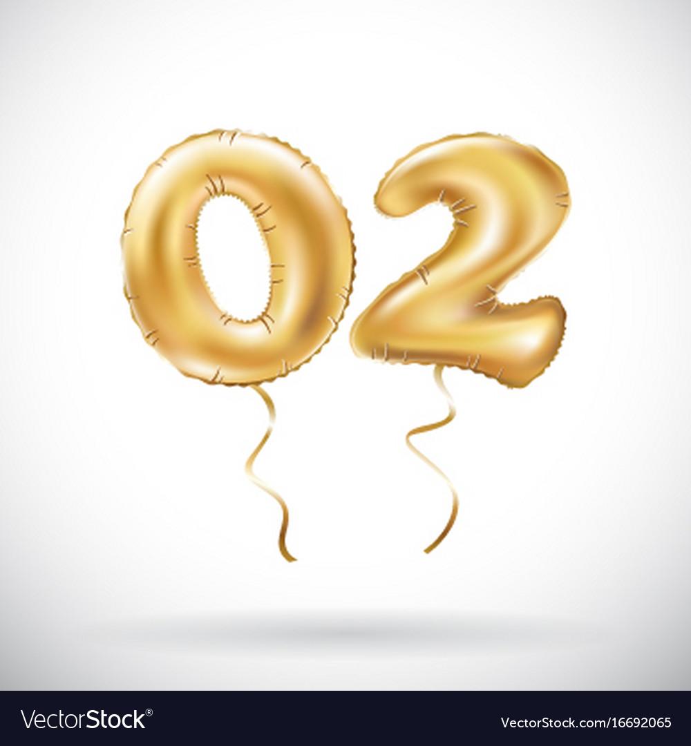 Golden number 02 zero two metallic balloon party