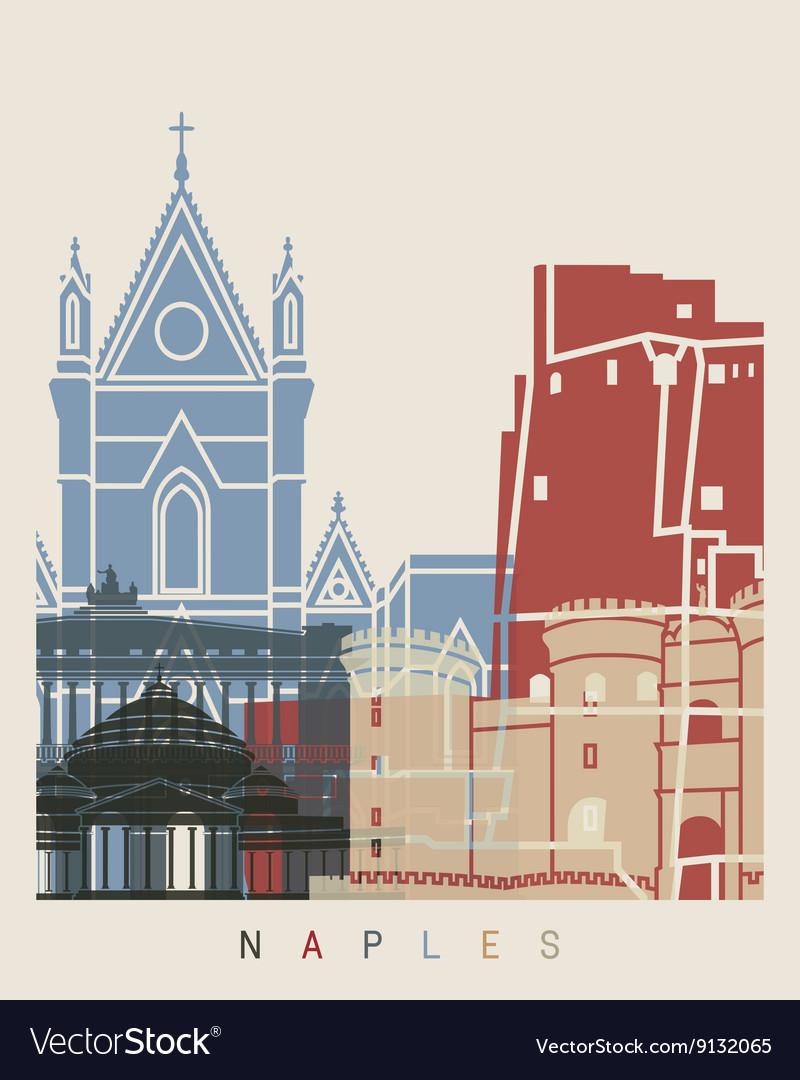 Naples skyline poster vector image