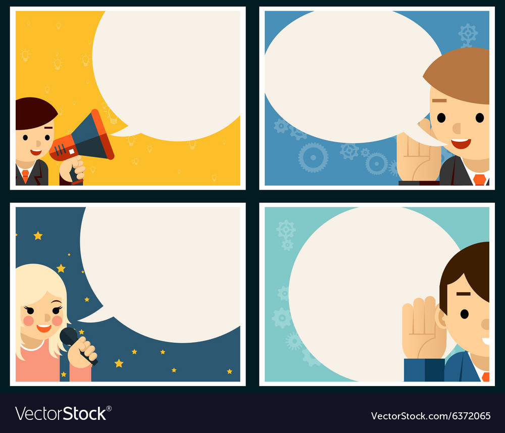 Speaking and listening poster concept set vector image
