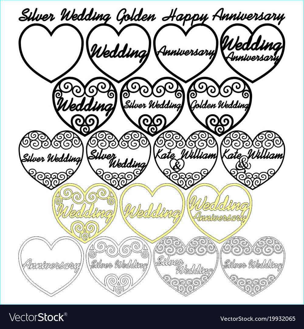 swirly filigree wedding anniversary hearts vector image