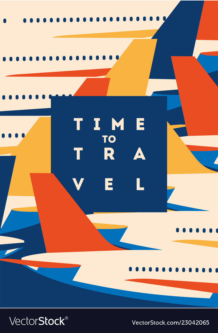 Time to travel and airport vacation poster