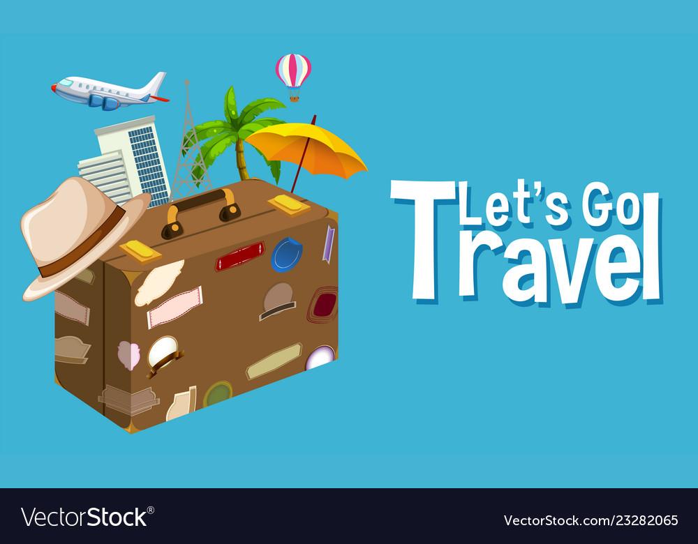 Travel objec on blue background