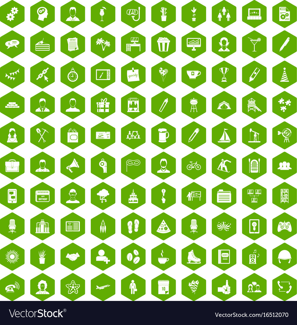 100 team building icons hexagon green