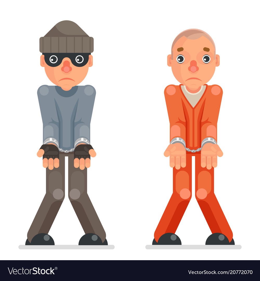 Arrested thief prisoner criminal hands handcuff vector image