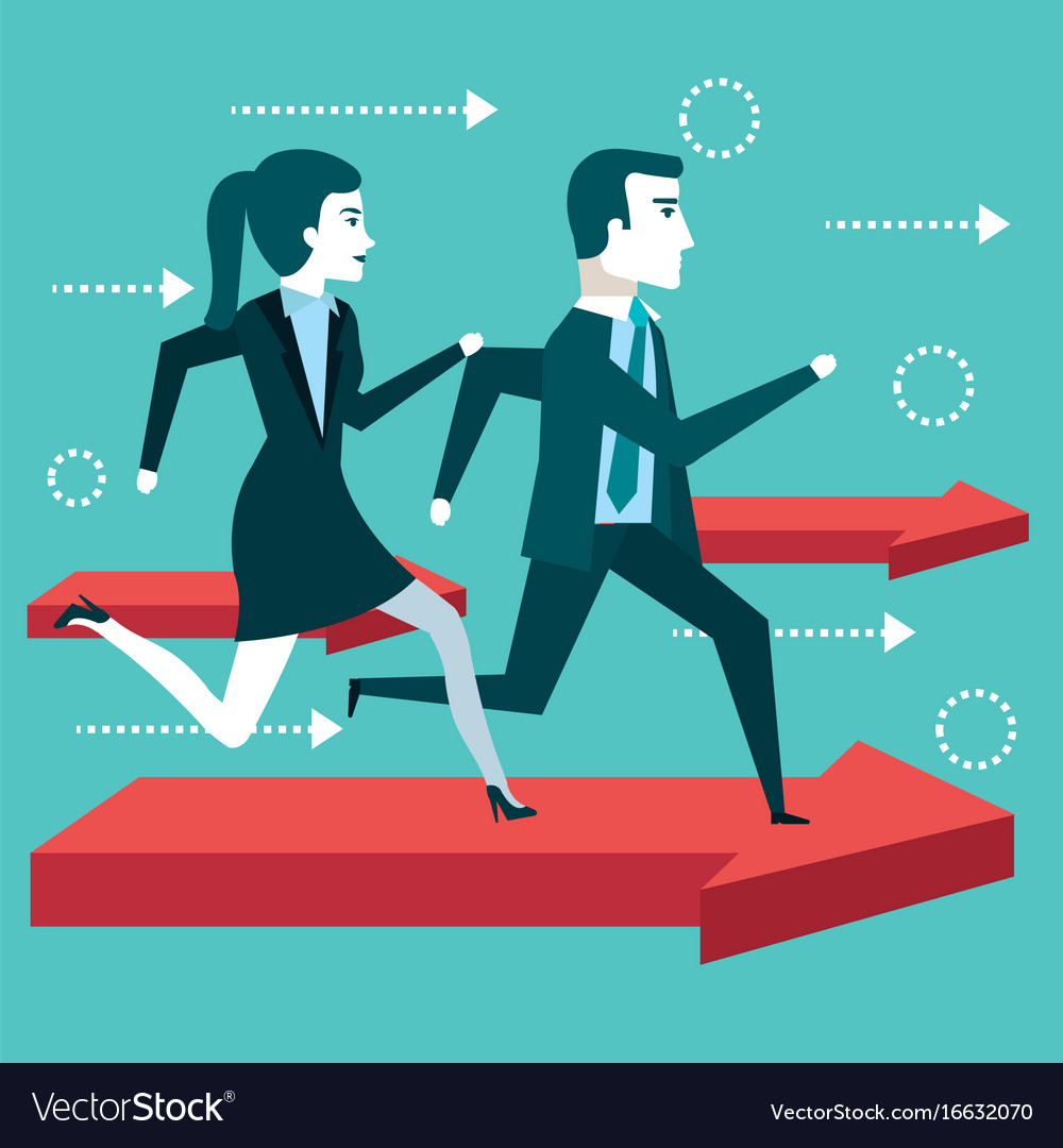 Business people man and woman running financial vector image