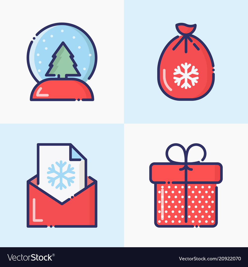 Christmas and new year thin line decoration icons
