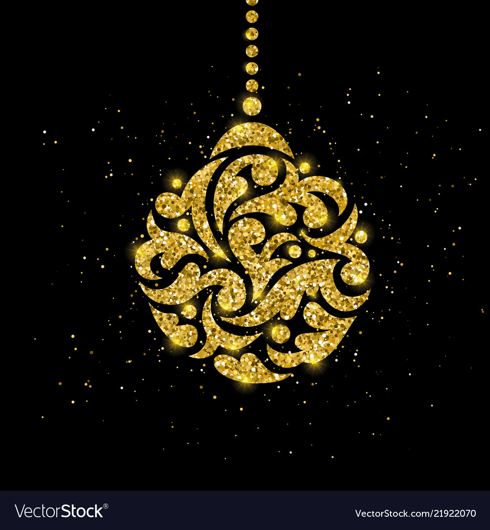 Christmas greeting card with gold ball decoration