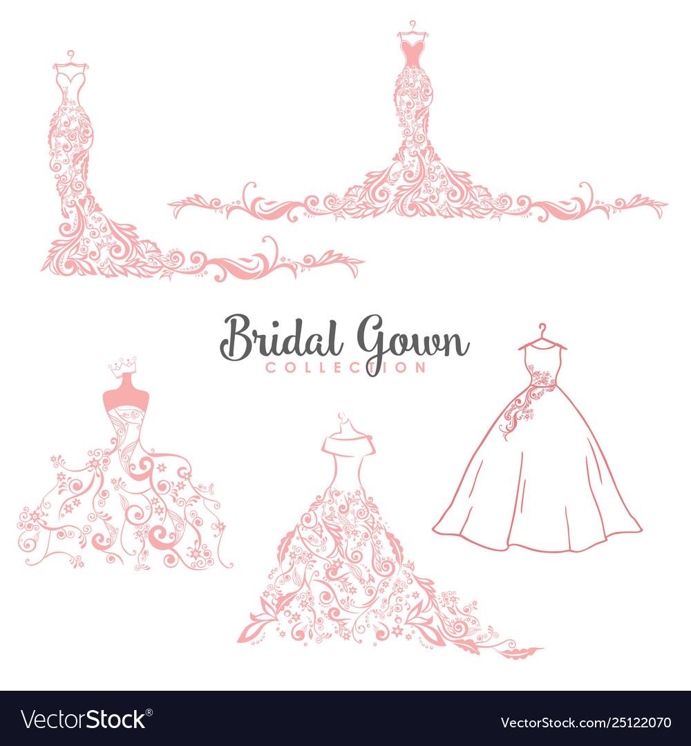 Dress boutique bridal collection logo set icon