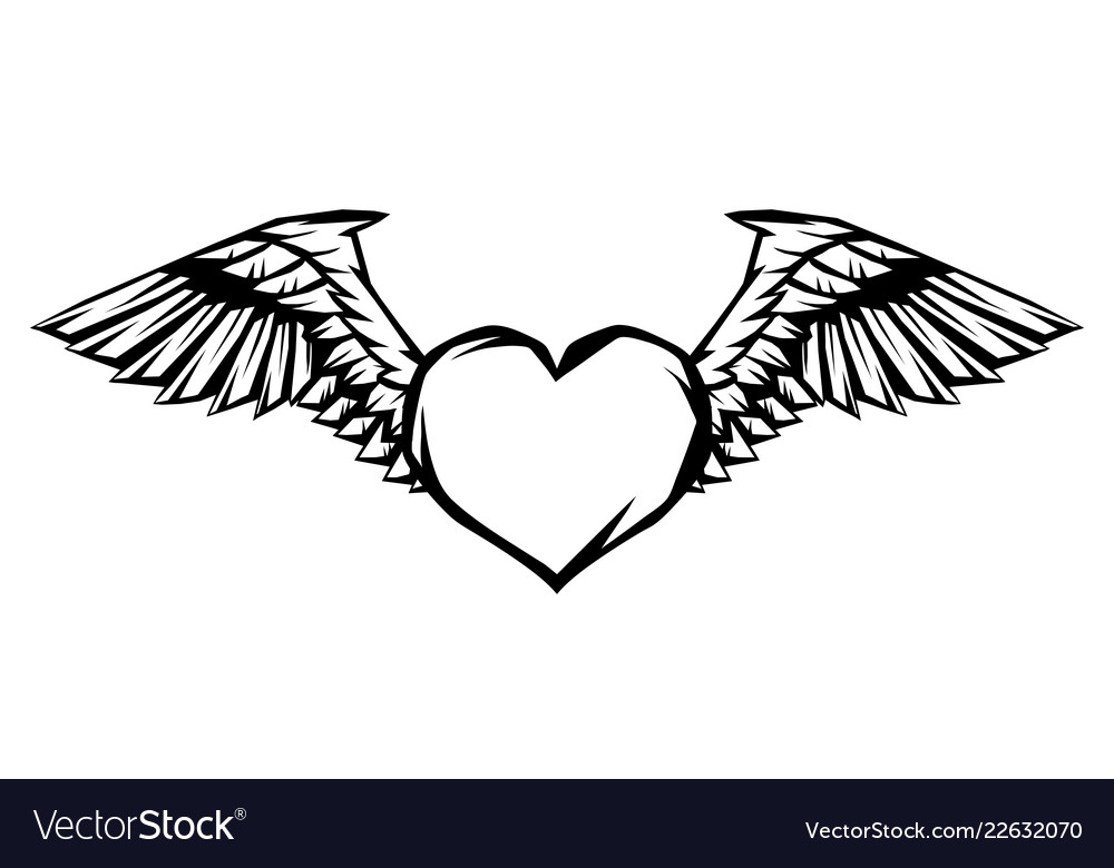 Heart with wings for tattoo design or emblem