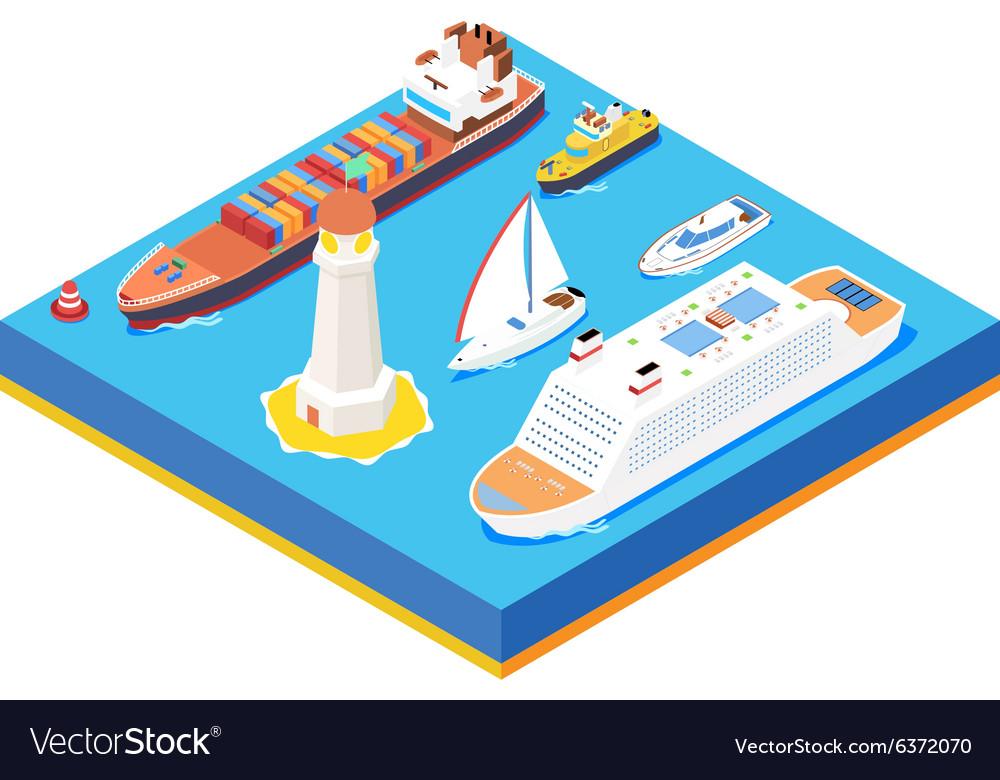 Isometric sea ships set