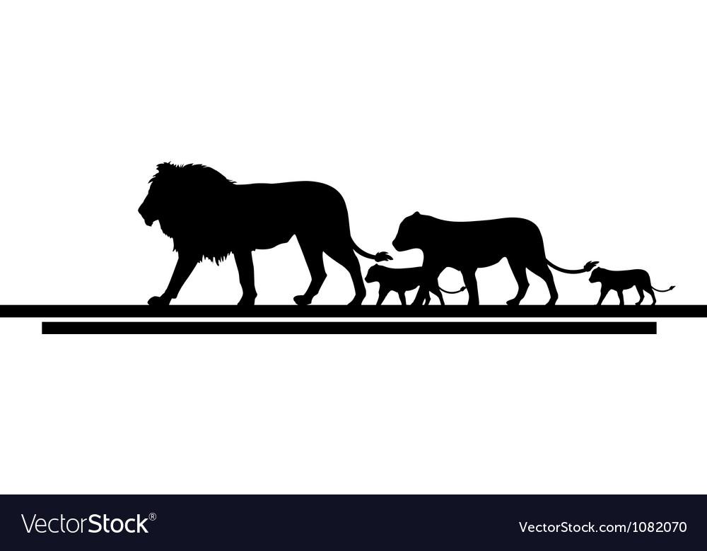 Lion family silhouette