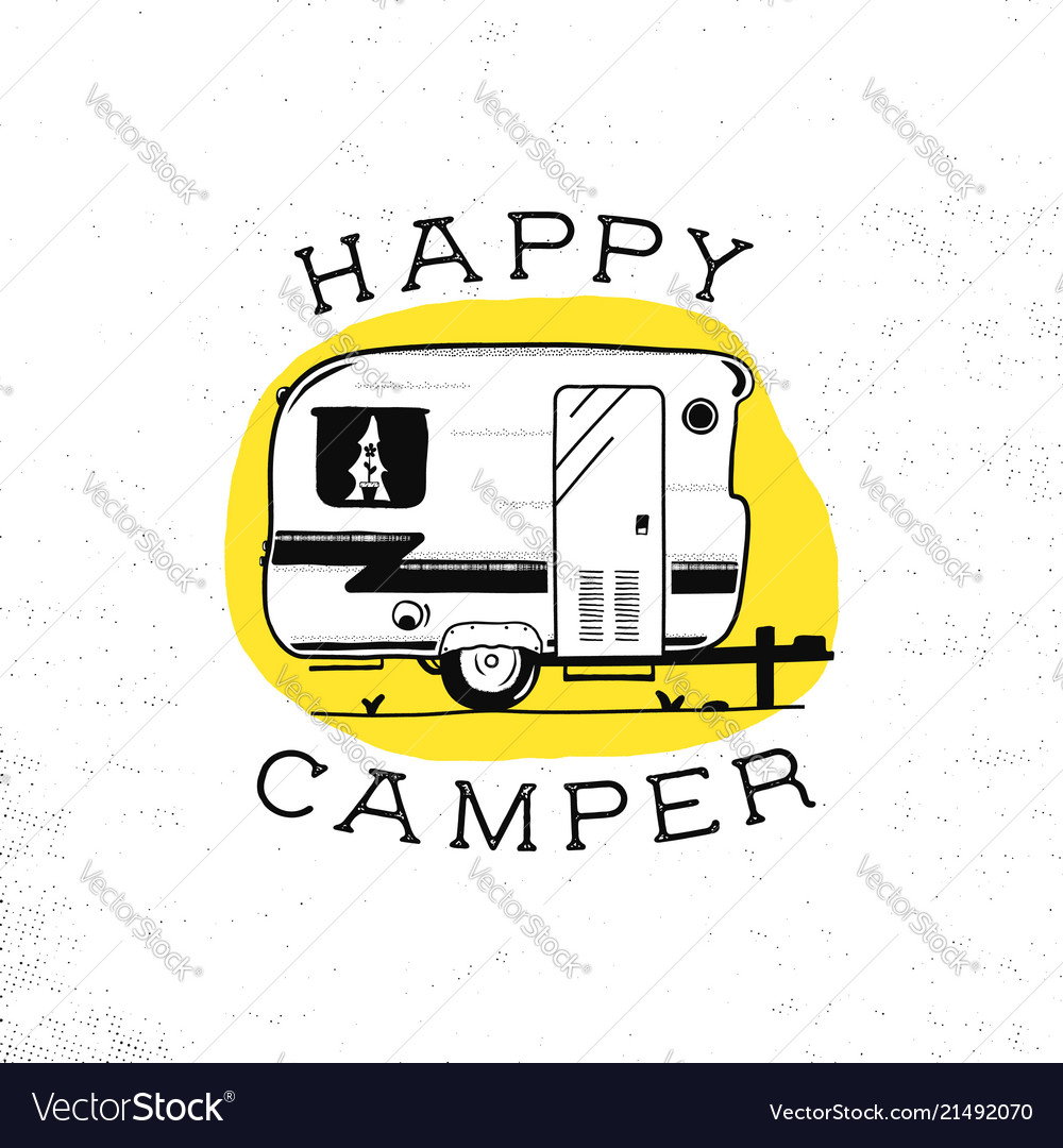 Mobile recreation happy camper trailer in sketch