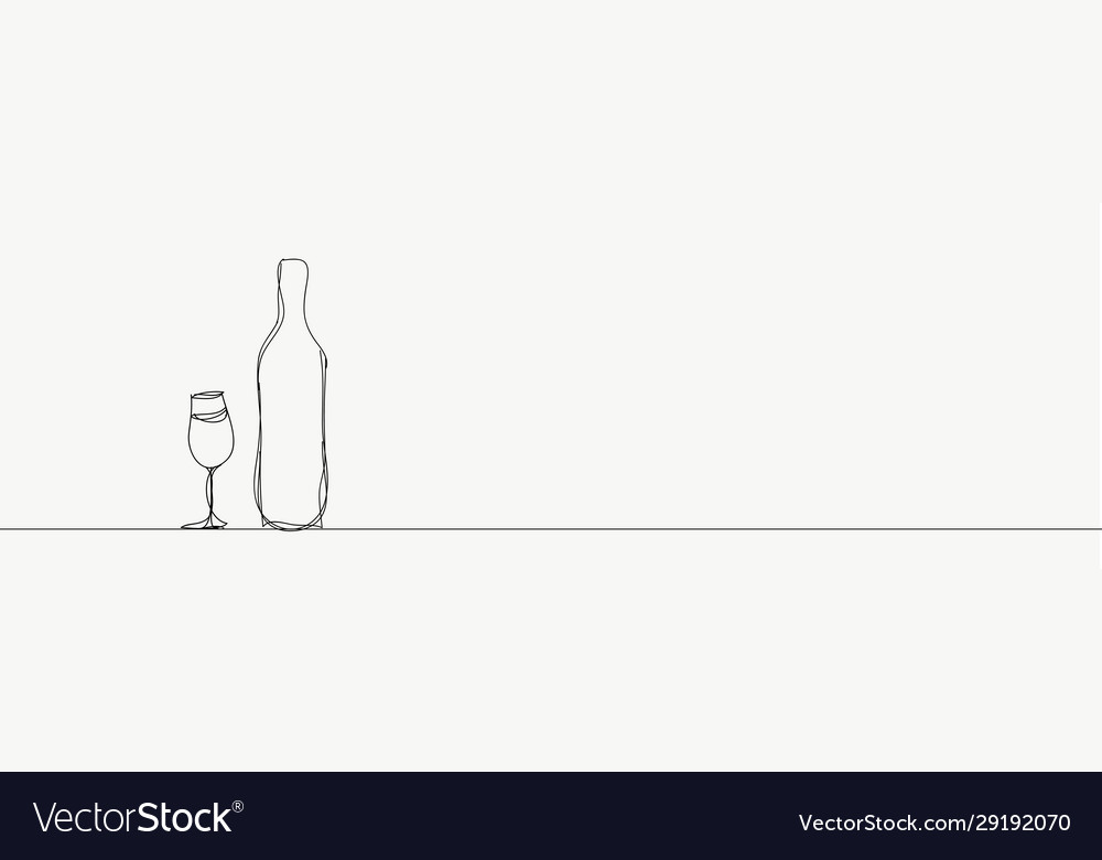 Outline bottle and glasses on white