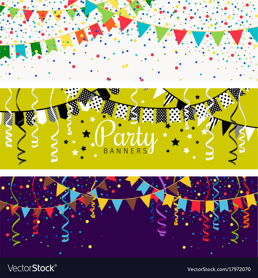 Party banners with garland of colour flags and vector image