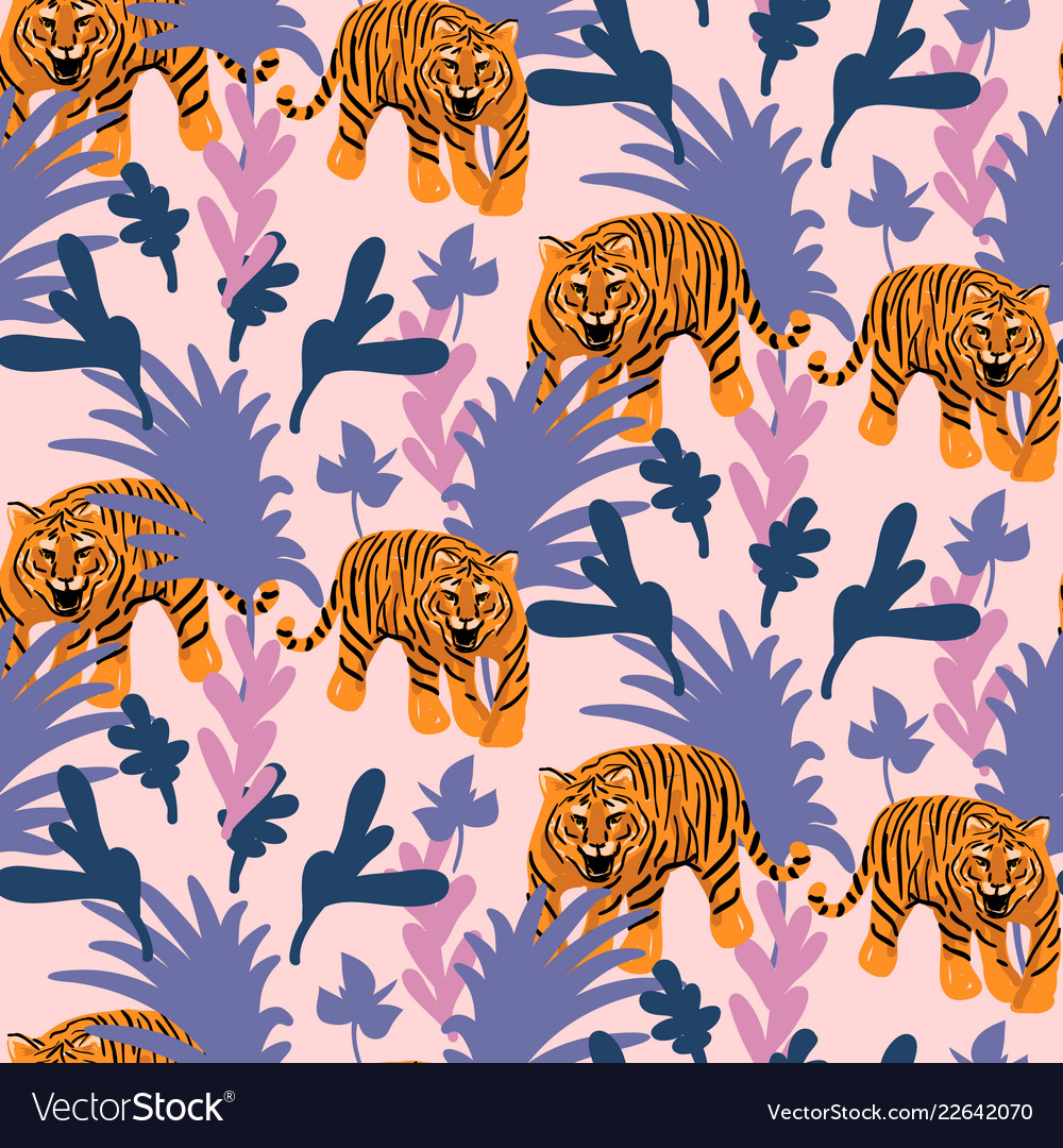 Seamless pattern with tigers in the jungle