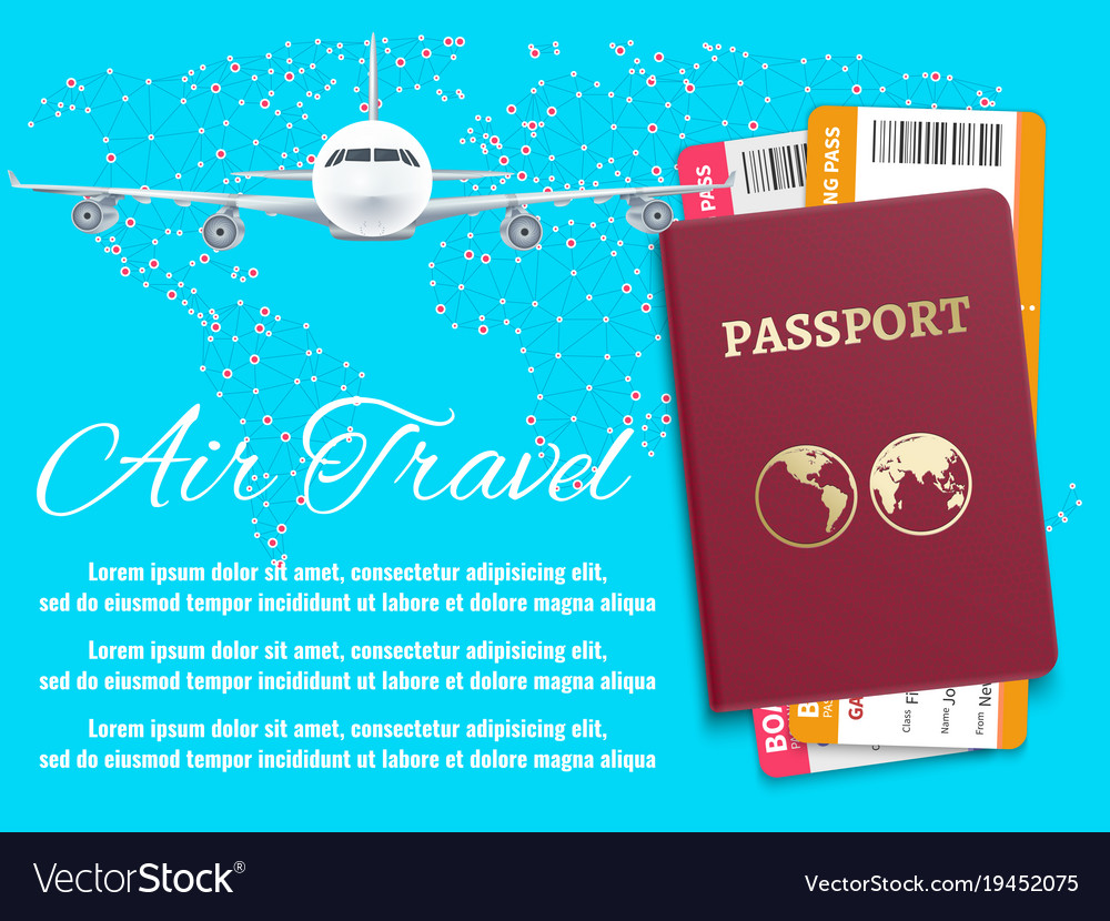 Air Travel Banner With World Map Airplane Passport